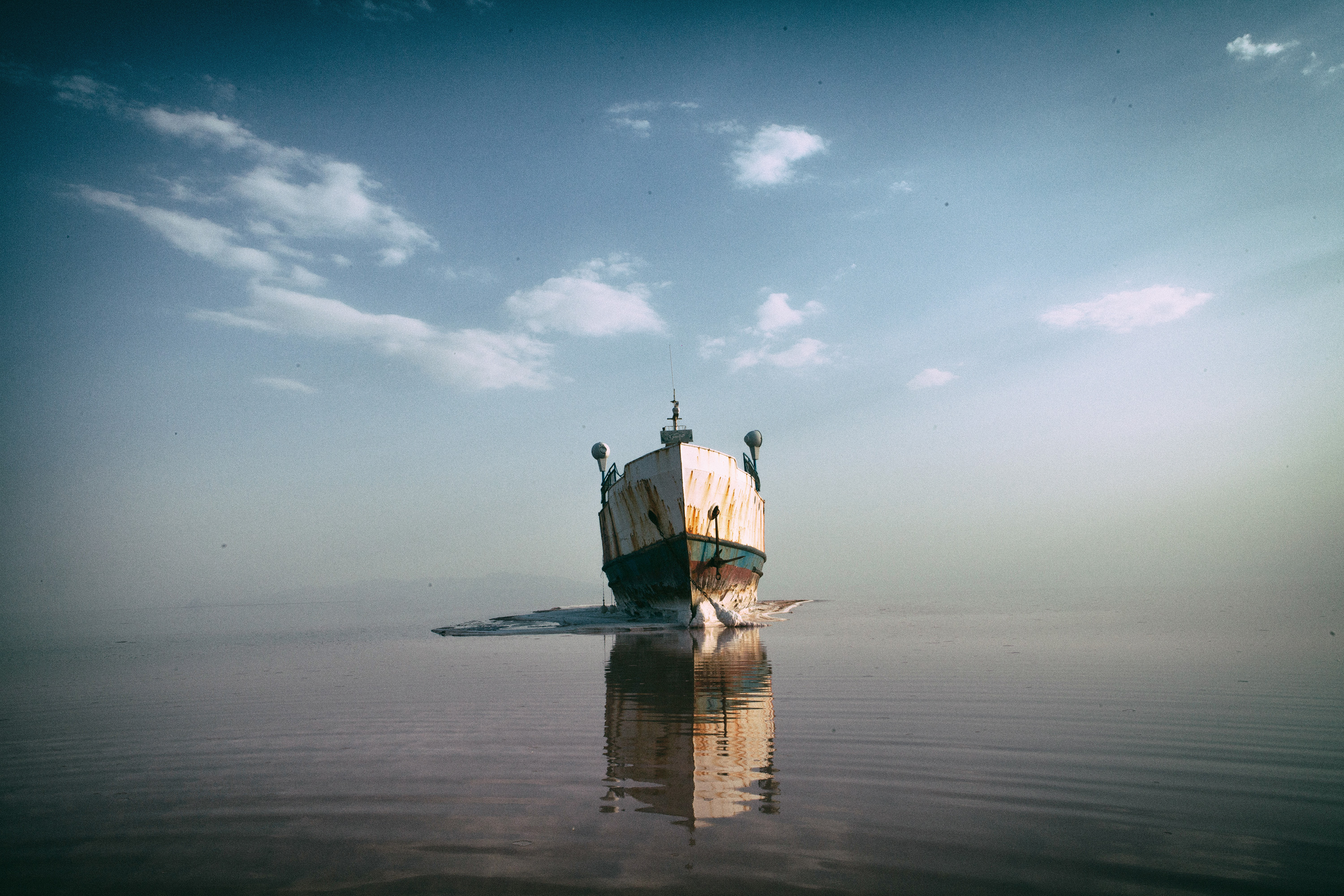 'Noah's Ark', the biggest passenger ship on Lake Urmia, which ran aground in the middle of the lake. 2013.