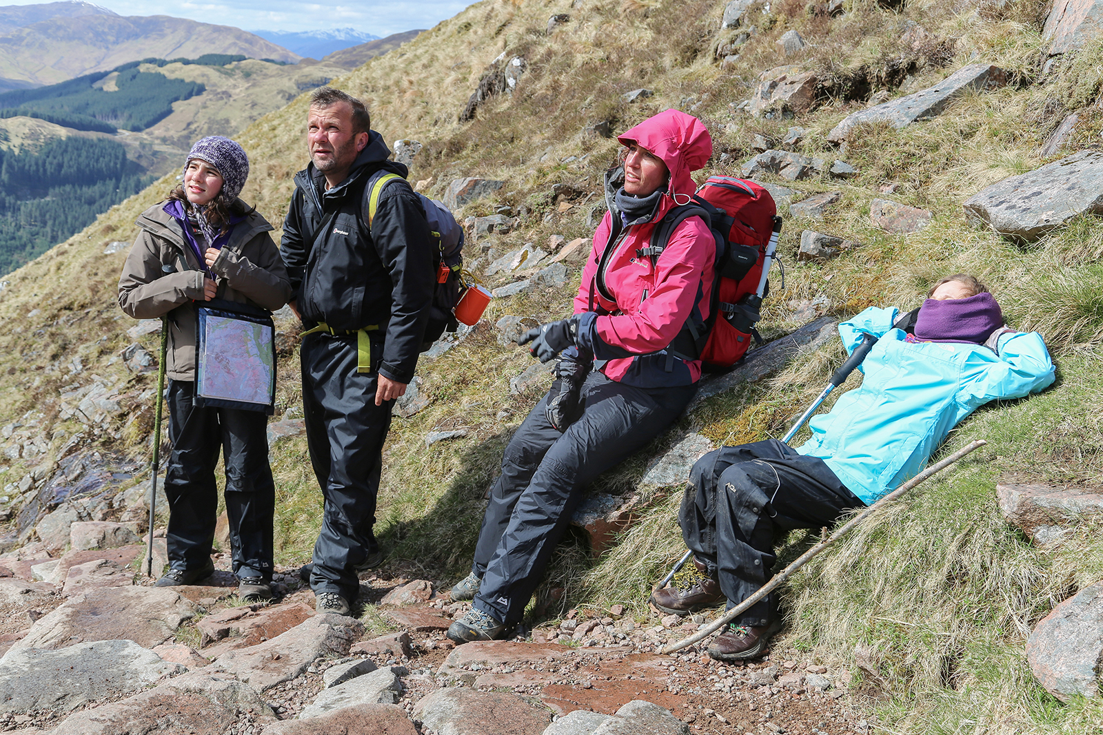 The Meek family stop for a break on an ascent of Ben Nevis, Scotland.